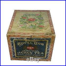 Antique Vintage Imported Shipping Japanese Tea Box Wood Paper Metal Lined