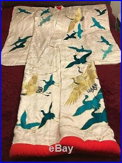 Antique Vintage Japanese Embroidered Silk Kimono Chinese Robe Embroidery #1