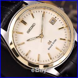 Authentic Grand Seiko Date Ref. 8N65-8000 18K Solid Gold Bezel Quartz Mens Watch