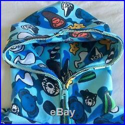 BABY MILO By BAPE X KAWS A Bathing Ape Full Zip Hoodie SZ L 2006 Vintage RARE