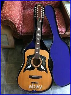 Beautiful Vintage National Japan 12 String Guitar, Brand New Chrome Tuners, Case