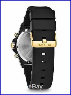Bulova Men's Marine Star Chronograph Black Two Tone Rubber Strap Watch 98B278