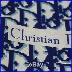 Christian Dior Trotter 100% Silk Scarf Navy Brown Vintage Japan Auth #N654 M