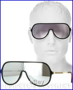 GUCCI black frame GG 0199/S Vintage WEB mirror SHIELD Sunglasses NIB Authen $405