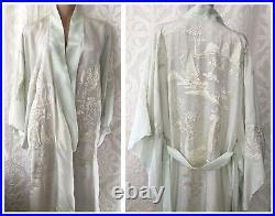 Gorgeous Vintage 1940s Pale Mint Green Embroidered Silk Kimono Robe Padded Hem
