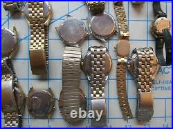 Great Lot 24 Vintage Seiko And Citizen Watches Lcd, Sq, Etc