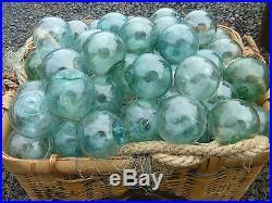 Japanese GLASS Fishing FLOATS 3-3.5 (22) Aqua Blue Green BULK Tiki Ocean Vntg