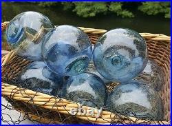 Japanese GLASS Fishing FLOATS 3-3.5 LOT-9 TRUE BLUE Buoy BALLS Authentic Vntg