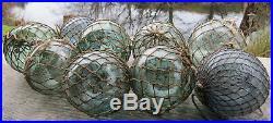Japanese Glass Fishing Floats 3-3.5 Lot-9 Antique Nets Maritime Relics Vntg