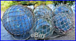 Japanese Glass Floats ANTIQUE NETTED (3) 3 & (2) 2 Fishing Balls Vintage