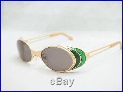 Jean Paul Gaultier 56-7109 sunglasses black gold green jpg vintage oval