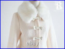 LIZ LISAFur & Ribbon Wool Coat White LARME Hime Lolita Japan F439