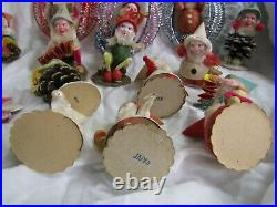 Lot 15 Vtg Pine Cone Putz Chenille DWARF ELVES Gnomes Ornaments Japan Christmas