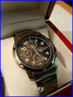NOS Seiko 7T62-0BF0 Men's Ultralight Titanium Alarm Chronograph 100M Wood Boxed