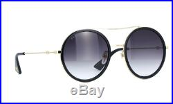 New Gucci GG0061S 001 Black/Gold Gray Lens Round Women Sunglasses