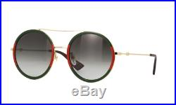 New Gucci GG0061S 003 Gold/Green/Red Gray Lens Round Women Sunglasses
