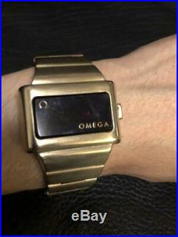 OMEGA TIME COMPUTER LED LCD DIGITAL Wrist Watch Rare 1970s USED Japan FedEx