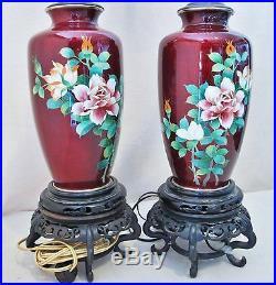 Pair of Vintage Japanese Pigeon Blood Red Cloisonne Flower Vases / Table Lamps