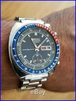 Rare Notch Case Seiko Chronograph Pogue Pepsi 6139.6000 Mens Automatic Watch