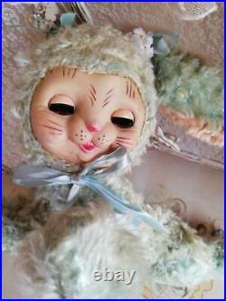 Rushton Sleep Eye Bunny Vintage Peppermint green 37cm Japan Good Used