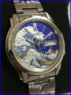Seiko 5 MOD Hokusai The Great Wave Ukiyoe Lacquer Blue Dial Mens Watch