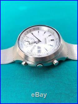 Seiko Chronograph Automatic Watch 6139-7100 Helmet Vintage Working Reset To 0