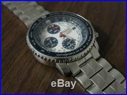 Seiko FlightMaster SNA413 7T62 0EB0 Blue Panda Chronograph Pilot Watch