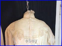TRUE Antique Victorian Ecru Silk Blouse HANDMADE Lace Appliqué