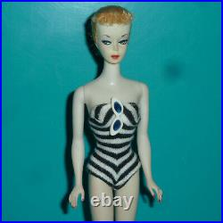 VINTAGE 1959 ORIG #1 PONYTAIL BARBIE DOLL With SUNGLASSES, SHOES & SS ORIG PAINT