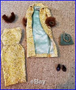 VINTAGE Barbie #3 BRUNETTE PONYTAIL- Doll, box, stand, booklet, 2 ex. Outfits