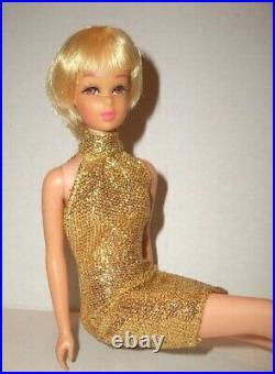 VINTAGE Barbie FRANCIE DOLL TNT WAIST BEND LEGS JAPAN 1960S DRESSED IN LAME