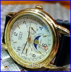 Very RARE Men's Citizen 6350 Triple Calendar day date month moon phase watch