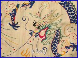 Vintage 1930s Japanese Raw Silk Robe Kimono Dragon Embroidery Great Colors Japan
