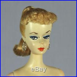 Vintage 1959 Barbie Ponytail #2 Blonde, Blue Eyeliner, TM Stand & Box Stunning
