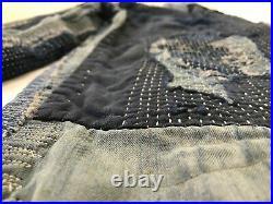 Vintage 40's Japanese Indigo Denim Boro Patchwork Sashiko Repaired Painter pants