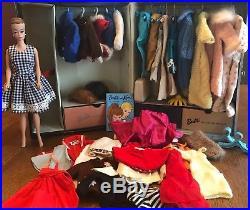 Vintage Barbie 1962 Midge Fashion Queen Doll Wigs Clothes Accessories Black Case