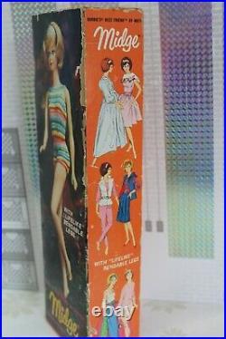 Vintage Barbie Bendleg Midge 1964 & original Swimsuit/ Box / Stand/ Inlay 60er