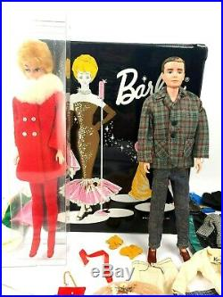 Vintage Blonde Bubble Cut 1960's Barbie with Origanal 1960's Ken Doll Case Cloths