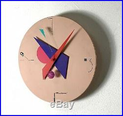 Vintage Canetti Art Time Wall Clock Memphis Post Modern Mid Century Unique 80s