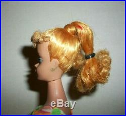 Vintage Early 1960s Blonde Poodle Bangs Ponytail Barbie Only Body Doll Dressed