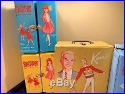 Vintage HUGE Lot of 1950s-1960s Barbie Ken Skipper Ricky Clothes Cases Dolls