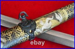 Vintage Japanese Sword Samurai Katana Brass Sheath Handmade Damascus Steel Blade
