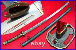 Vintage Japanese Sword Samurai Katana WW2 Copper Handle With Number Full Tang