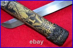 Vintage Japanese Sword Samurai Katana Wakizashi Damascus Blade Steel With Sheath