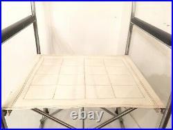 Vintage MCM Takeshi Nii Suekichi Uchida Japan Folding Chair X Metal Vinyl White
