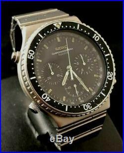 Vintage Men's Watch SEIKO Black Chronograph 7A28-7040 Speedmaster working