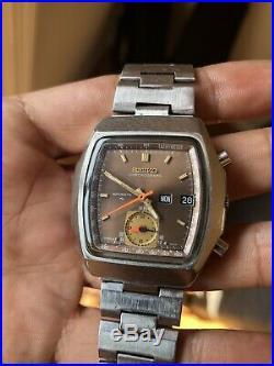 Vintage Rare Seiko Monaco Tank Chronograph Automatic Day-Date Flyback 7016-5020