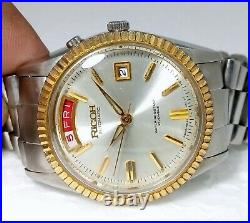Vintage Ricoh Automatic Oyster Style Cream Dial Men's Rare Watch Case Size 36mm