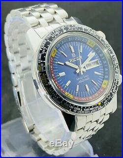 Vintage Ricoh Diver's World Time GMT-61215A Automatic 21J Men's Big Crown Watch