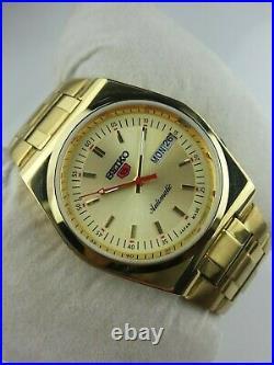 Vintage Seiko 5 Elegant Golden Case Mens Automatic Japan Working Wrist Watch Mn